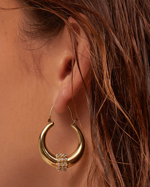 Pave Loop Tube Hoops- Gold