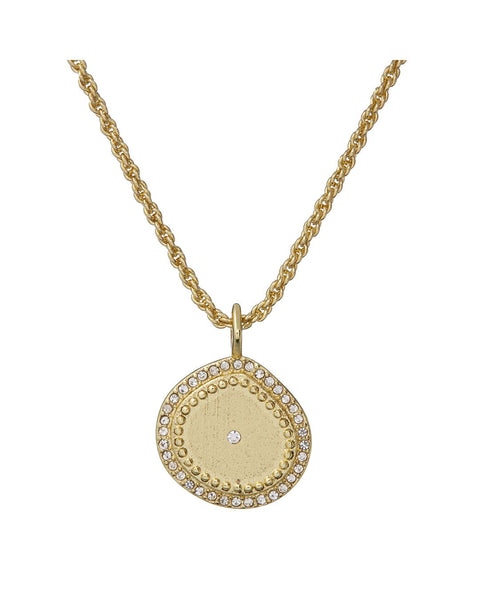 Pave Coin Charm Necklace- Gold