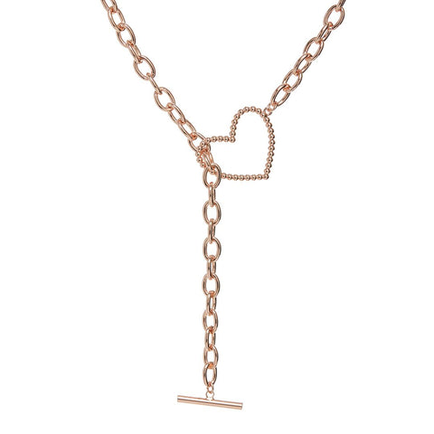 Heart + Chain Lariat- Rose Gold