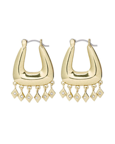 Diamond Kite Fringe Hoops- Gold