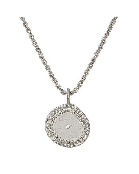 Pave Coin Charm Necklace- Silver