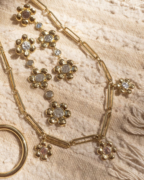 Flora Link Necklace- Gold