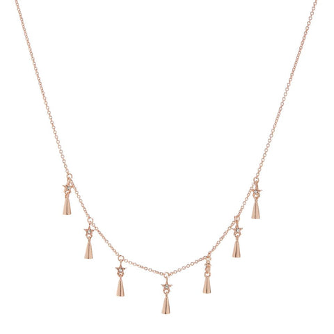 Celestial Shaker Necklace- Rose Gold