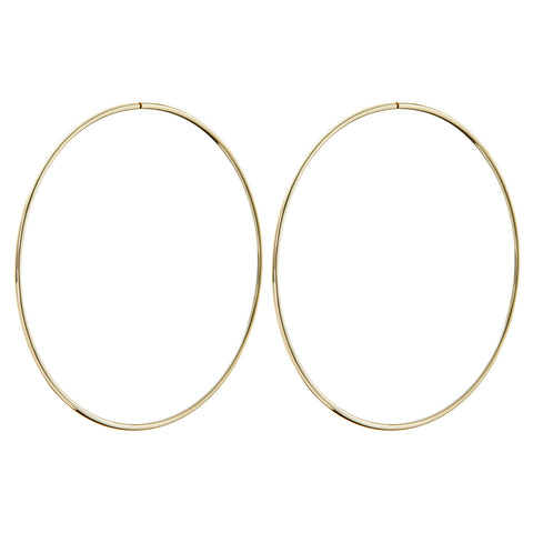 The XL Wire Hoops- Real 14K Yellow Gold