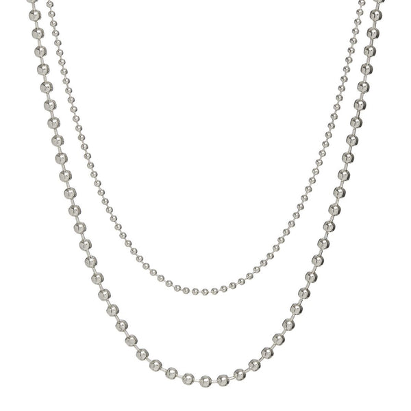 Double Ball Chain Necklace- Silver