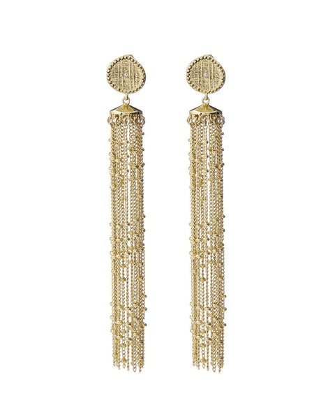 Pave Coin Fringe Earrings- Gold