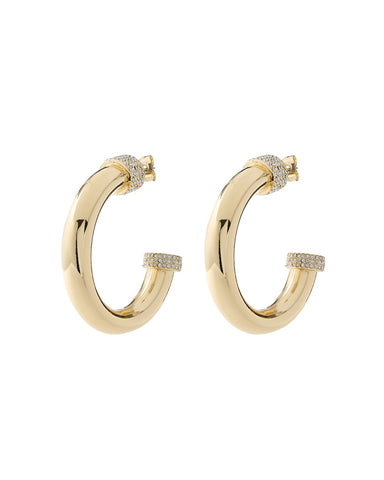 Pave Tip Tube Hoops- Gold