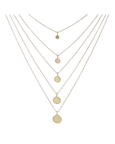 Multi Coin Charm Necklace- Gold