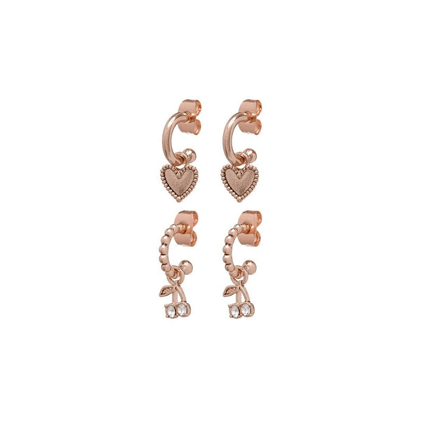 Cherry + Heart Studded Huggies- Rose Gold