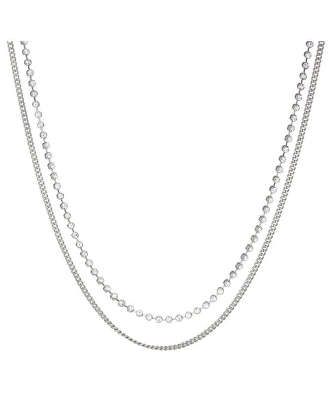 Diamonte Chain Charm Necklace- Silver