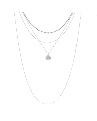 Layered Pave Coin Necklace- Silver