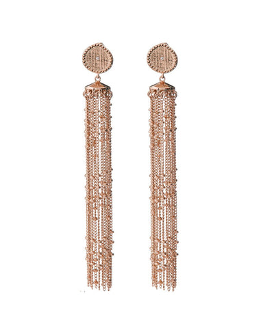 Pave Coin Fringe Earrings- Rose Gold