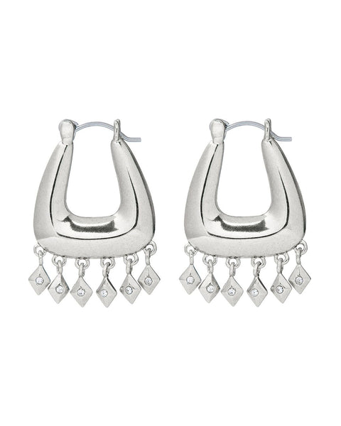 Diamond Kite Fringe Hoops- Silver