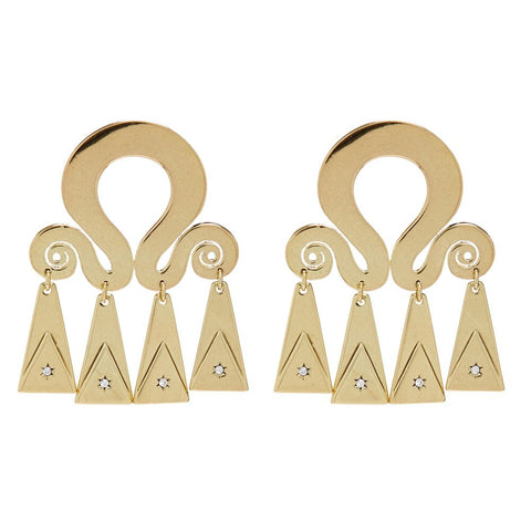 Spiral Statement Earrings- Gold