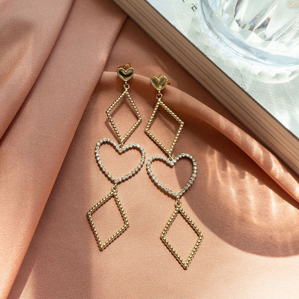 Dotted Heart Statement Earrings- Gold