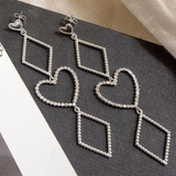Dotted Heart Statement Earrings- Silver