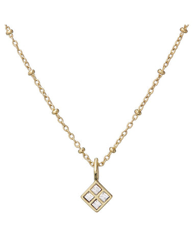 Diamond Charm Necklace- Gold