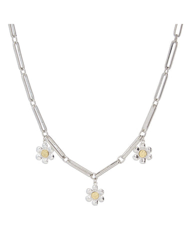 Flora Link Necklace- Silver