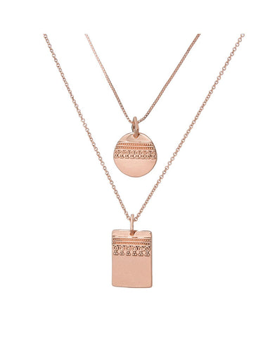 Marrakech Double Charm Necklace- Rose Gold