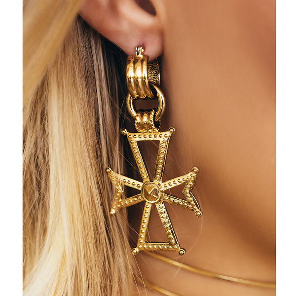 Mattan Cross Statement Hoops - Gold