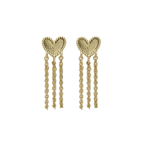 Heart Chain Studs- Gold