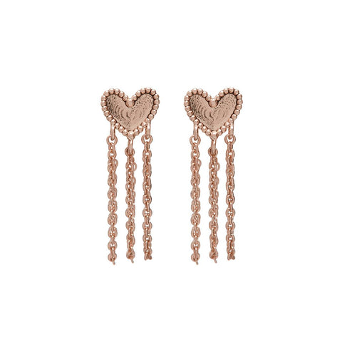 Heart Chain Studs- Rose Gold