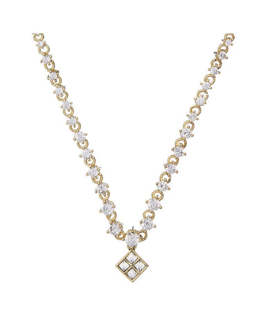 Graduated Diamond Charm Necklace- Gold