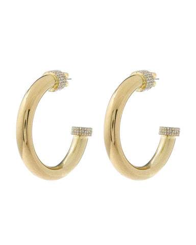 XL Pave Tip Tube Hoops- Gold