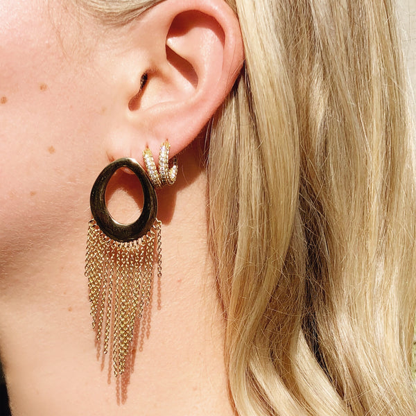 Elliptical Fringe Earrings- Rose Gold