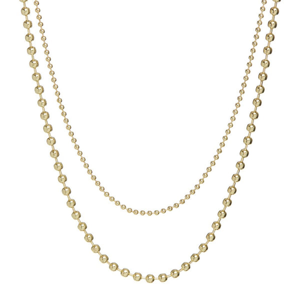 Double Ball Chain Necklace- Gold (Ships Early August)