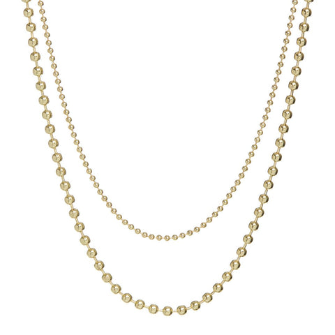 Double Ball Chain Necklace- Gold