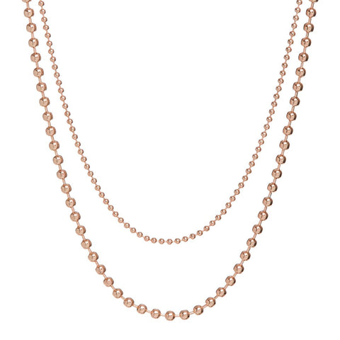 Double Ball Chain Necklace- Rose Gold