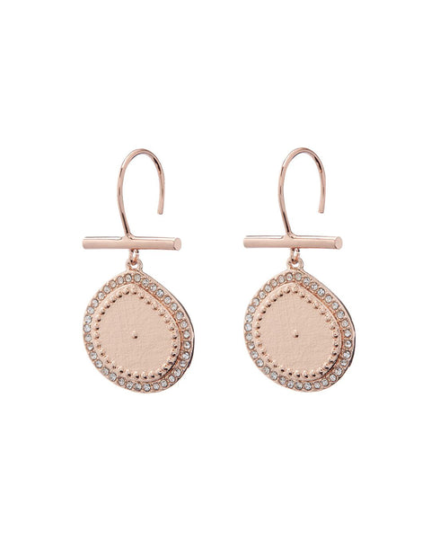 Pave Coin Hook Earrings- Rose Gold