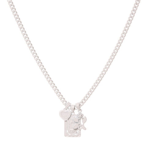 Rainbow Triple Charm Necklace- White