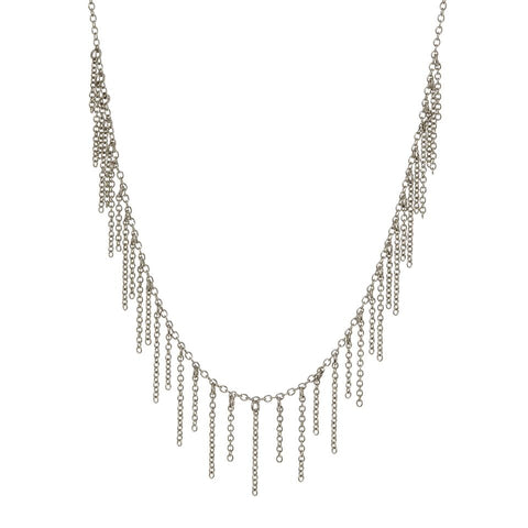 The Chain Fringe Necklace- Silver