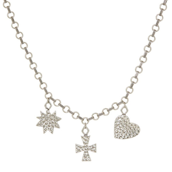 The Hammered Charm Necklace- Silver