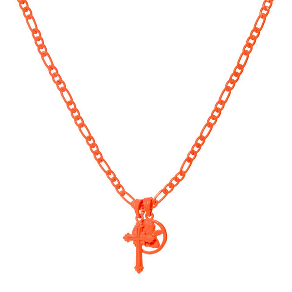 Rainbow Double Charm Necklace- Neon Orange