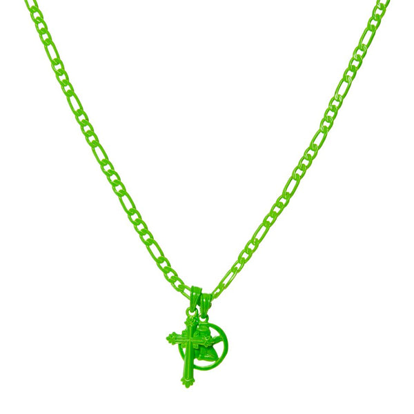 Rainbow Double Charm Necklace- Neon Green