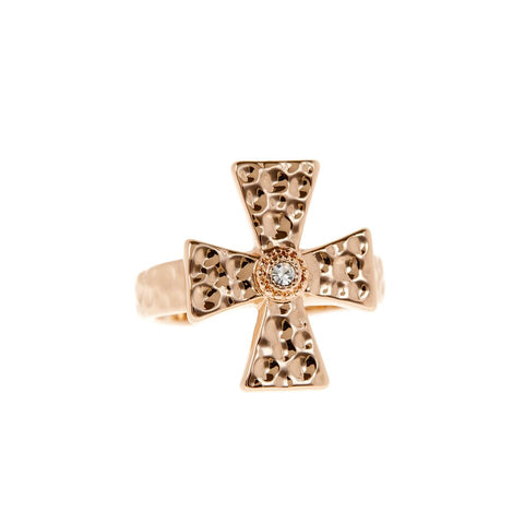 The Hammered Cross Signet Ring- Rose Gold