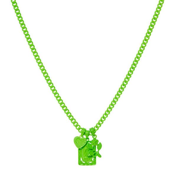 Rainbow Triple Charm Necklace- Neon Green