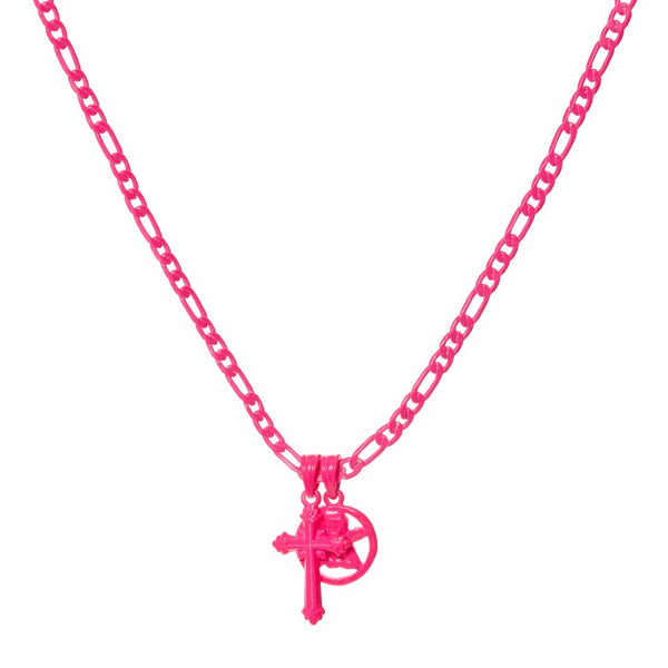 Rainbow Double Charm Necklace- Neon Pink