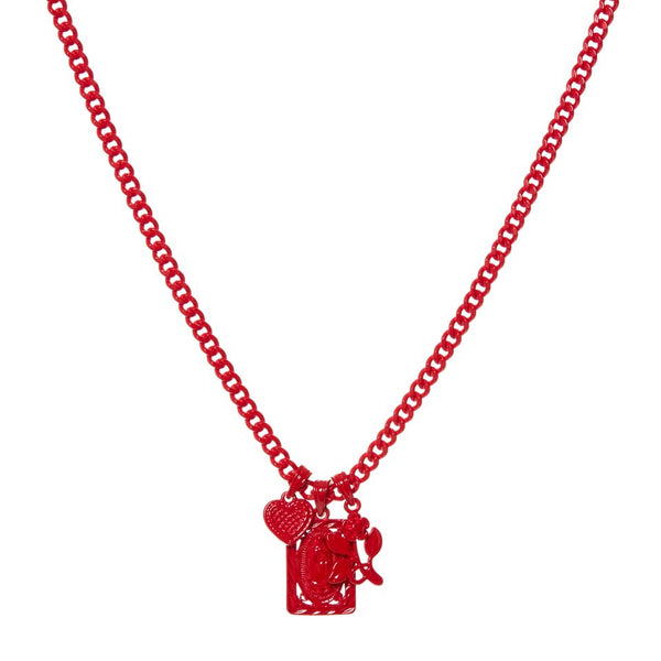 Rainbow Triple Charm Necklace- Red