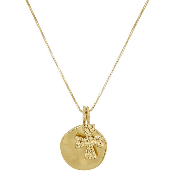 The Hammered Cross + Coin Necklace- Gold
