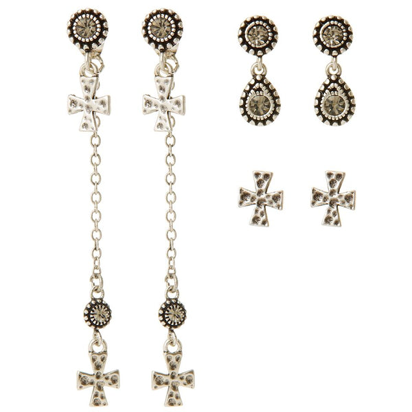 The Moroccan Dangle Cross Studs Set- Silver