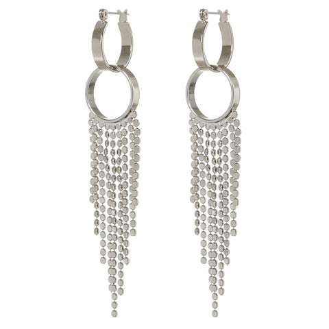 The Double Loop Fringe Hoops- Silver