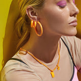 Rainbow Amalfi Hoops- Neon Orange (Ships Early April)