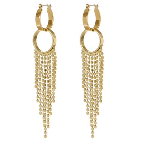 The Double Loop Fringe Hoops- Gold