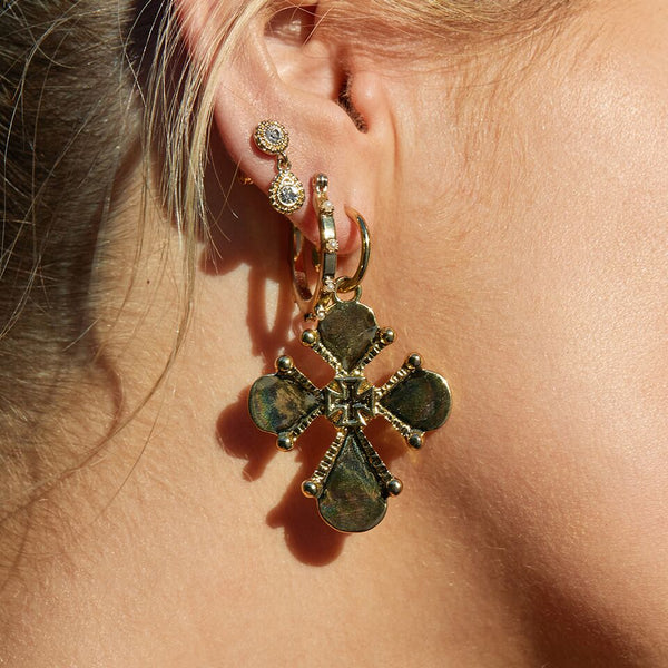 Nouveau Cross Statement Earrings- Gold