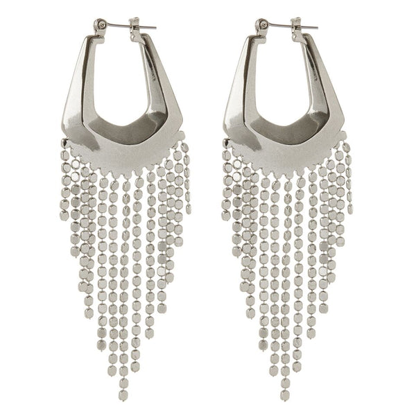 The Faceted Fringe Statement Hoops- Silver