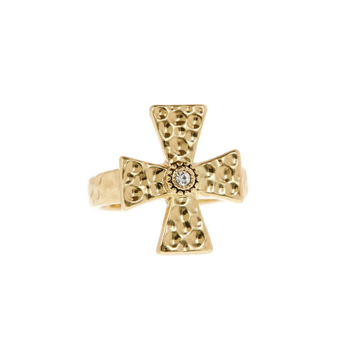 The Hammered Cross Signet Ring- Gold